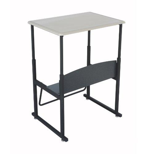 "Safco Products Alphabetter Stand-Up Desk With Swinging Footrest Bar, 28"" X 20"" Standard Top, Beige Top, Black Frame, 1201Be"
