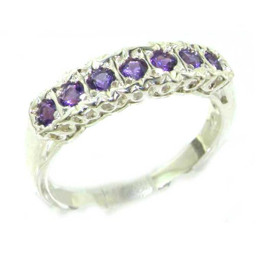 Solid English Sterling Silver Ladies Natural Amethyst Victorian Style Eternity Band Ring - Size 12 - Finger Sizes 5 to 12 Available - Suitable as an Anniversary ring, Engagement ring, Eternity ring, or Promise ring