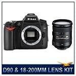 Nikon D90 SLR Digital Camera, 12.3 Megapixel, DX Format CMOS Sensor, 3