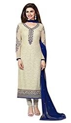 Craftliva Off White & Navy Blue Embroidered Georgette Straight Suit