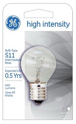 Ge High Intensity Light Bulb 40 W 440 Lumens S11 Screw Base 2-5/16 In. Boxed