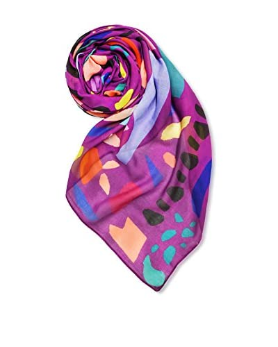 Printed Village Women's Color Collage Scarf, Purple