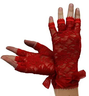 SHORT FINGERLESS RED LACE GLOVES WITH RED BOW DETAIL FASHION ACCESSORY