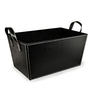 The Lucky Clover Trading Faux Leather Storage Basket, Black: Amazon.in: Home & Kitchen