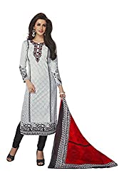 PShopee White & Black Cotton Printed Unstitched Salwar Suit Dress Material