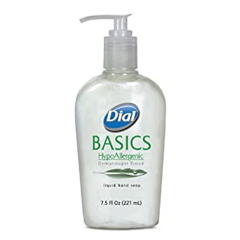 Dial 1747318 Basics Hypoallergenic Liquid Hand Soap with Pump, 7.5 Oz, (Case of 12)