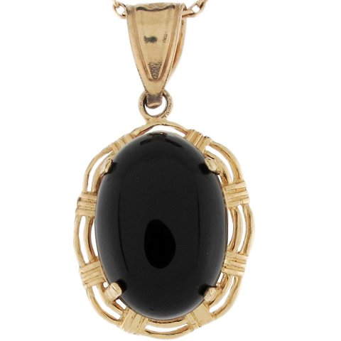 10k Yellow Gold 4.8ct Oval Onyx Elegant Ladies2.48cm X 1.35cm Pendant