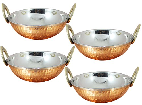 4er-set-edelstahl-kupfer-gehmmert-dienen-ware-zubehr-karahi-pan-fressnpfe-fr-indisches-essen-durchmesser-13-cm