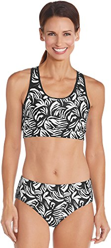 Coolibar UPF 50+ Women's Swim Bra - Sun Protective (Large- Black Palm) (Full Coverage Bikini Top compare prices)