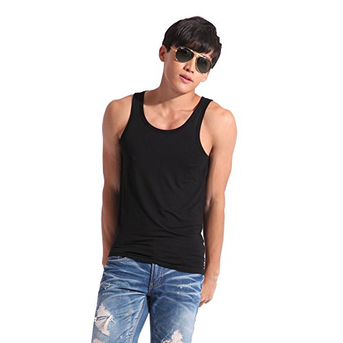 Confreebroon's Mens Sports Fitness Vest Summer Modal Elastic Vest (Black, 3XL)