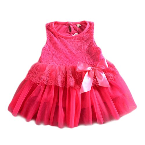 Urparcel Baby Girls One Piece Floral Dress Lace Bowknot Party Ballet Skirts 0-3Y