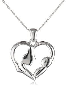 """Sterling Silver Open Heart with Silhouette of A Mother and A Baby Silver Pendant Necklace, 18"""""""