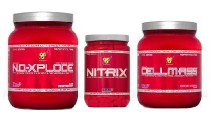 Mass Stack-BSN Maximum Strength Core Series, No-Xplode Fruit Punch, Cellmass Arctic Berry, Nitrix 180 Tablets, Orange No-Xplode
