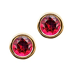 Carlo Bianca Blazing Red 14K Yellow Gold Earrings Made With Swarovski Topaz