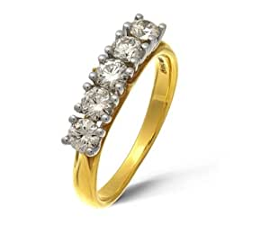 Naava 18ct Yellow Gold 5 Stone Eternity Ring by Naava, H/SI1 Certified Diamonds, Round Brilliant, 0.75ct