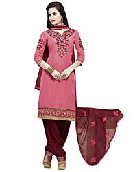 Shoppingover Patiala Salwar Kameez Pink and Red