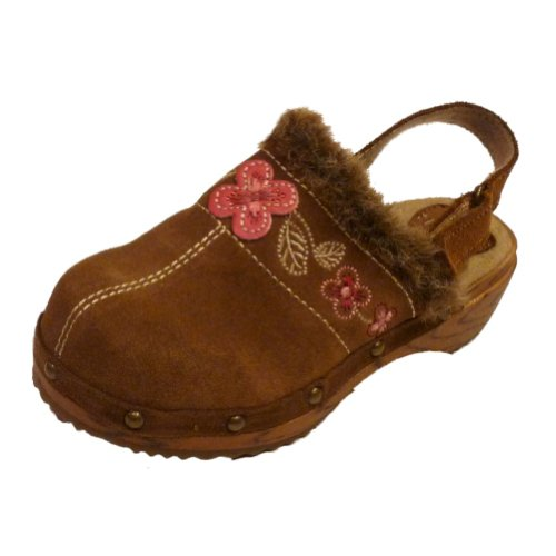 Circotoddler Girls Brown Suede Leather Clogs Furtrimmed Dress Shoes