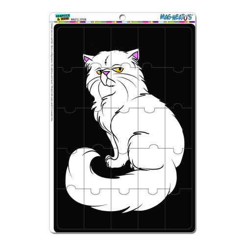 Graphics And More Cat Persian Pet White Black Background Mag-Neato'S Novelty Gift Locker Refrigerator Vinyl Puzzle Magnet Set front-625073