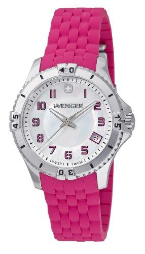 Wenger Squadron Lady 01.0121.101 - Reloj analógico de cuarzo para mujer, correa de silicona color rosa (agujas luminiscentes)