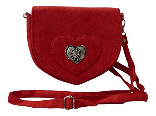 Elegante-Trachtentasche-im-Wildleder-Look-Dirndltasche-mit-Herz-Edelweiss-Applikation-frs-Dirndl-rot