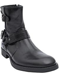 Salt N Pepper Ray Black 100% Genuine Leather Men Mid Ankle Flat Boots
