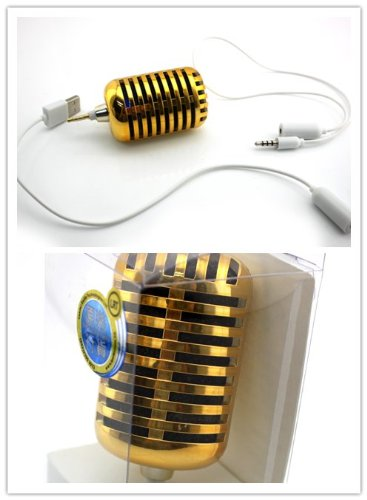 Big Dragonfly Cute Portable 3.5Mm Headphone Jack Mircophone Shaped Stereo Speaker Dock For Apple Iphone 5 / Iphone 4 4S / Ipad Mini / Ipod / Thinkpad Tablet /Samsung / Htc /Blackburry Usb Included Rechargeable Box Package ( Golden )