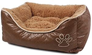 BUNNY BUSINESS Luxury Super Soft Dog Beds Leather and Fleece, Extra Large, 42-inch