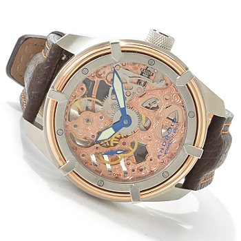 Android Men's Naval Skeleton Mechanical Leather Strap Watch
