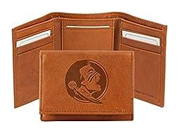 NCAA Florida State Seminoles Embossed Genuine Cowhide Leather Trifold Wallet