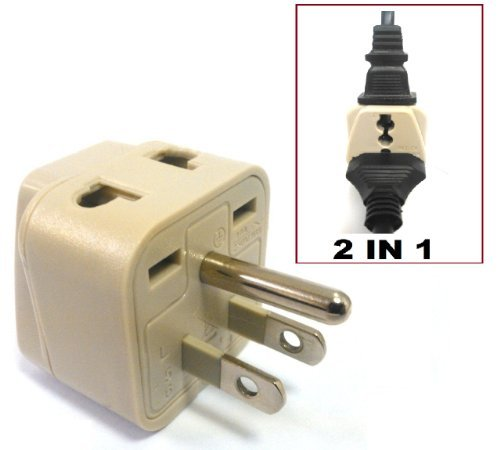 Cvid Ba-5An Grounded Universal 2 In 1 Plug Adapter Type A/B For Usa, Canada, Brazil, Japan & More - Ce Certified Style: Type A/B Size: Single-Pack