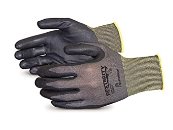 Superior S13BFNT Dexterity NT Nylon String Knit Glove with Foam Nitrile Coated Palm, Work, 13 Gauge Thickness, Size 7, Black (Pack of 1 Dozen)