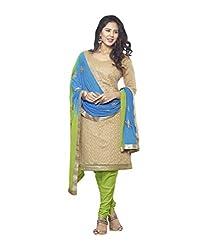 Bhagwati Women's Georgette Embroidered Unstitched Dress Material (saheli1_Beige_Freesize)