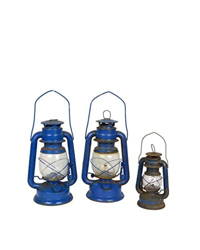 Uptown Down 1980s Set of 3 Lanterns, Blue