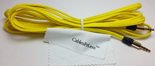 Cablesfrless (Tm) 3.5Mm Flat Braided Auxiliary Aux Cable (10Ft Yellow)