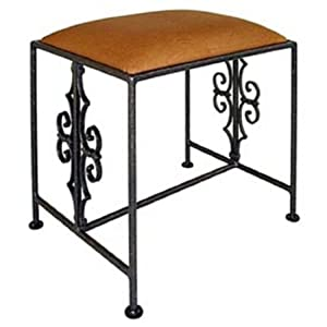 Grace Gothic Curl Wrought Iron Bench, 20in, Storm Fabric, Jade Patina Finish
