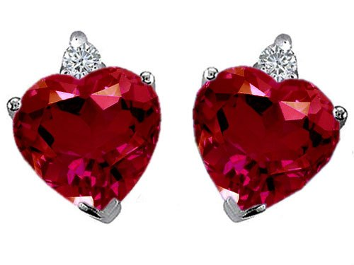 3.10 cttw 14K White Gold Plated 925 Sterling Silver and Created Heart Shape Ruby Earrings