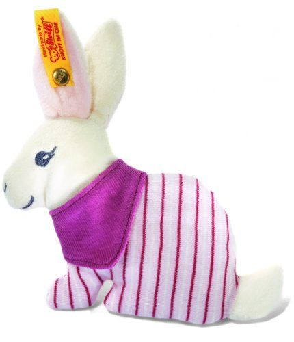 Steiff Hoppy bunny rattle, white/pink Baby Plush