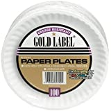 "AJM Packaging CP9GOEWH 9"" Gold Label Coated Paper Plate (10 Packs of 100)"