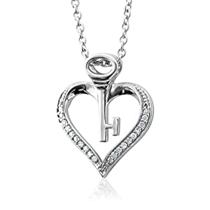 Sterling Silver Key My Heart Diamond Pendant Necklace (HI, I, 0.10 carat)