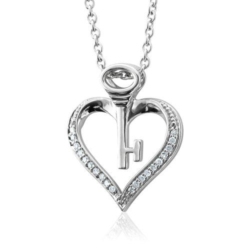 Sterling Silver Key My Heart Diamond Pendant
