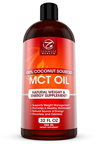 MCT Oil - 100% Derived from Coconut Oil - All Natural Liquid C8 & C10 Energy Boost & Weight Support Supplement - Great for Bulletproof Coffee, Drinks, Smoothies, Food, Salad Dressings - 32 FL OZ (Thermogenic Energy Drink Mix compare prices)
