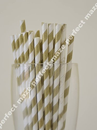 Perfectmaze 25 Pack Stylish Paper Straws Striped-Wedding/Baby Shower/Birthday Party/Picnic-Multicolors (Gold) front-327066