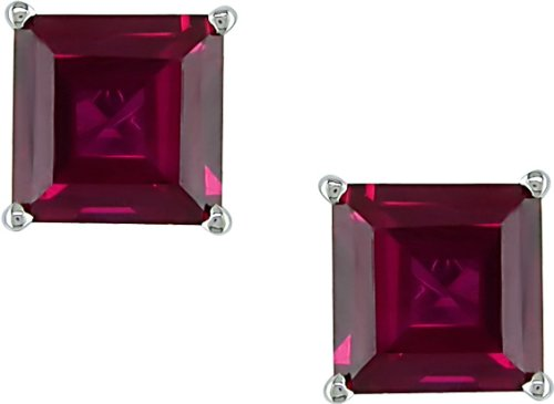 10k White Gold 2 1/2 Carat Princess-Cut Created Ruby Solitaire Earrings