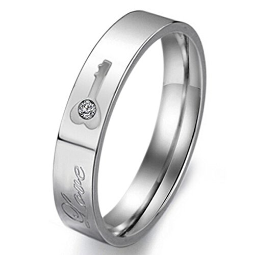 """Women'S Wide 4Mm """"Love"""" Stainless Steel Bands Ring Cz Silver Key Valentine Love Couples Promise Engagement Wedding Size5"""