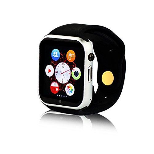 """Yuntab® W10 Bluetooth Smart Watch Montre Intelligente 1.54"""" Écran Tactile Avec Caméra de 0,3MP Support Micro SIM carte pour Téléphone Andorid Samsung / HTC / LG / Huawei / ZTE et IOS Apple Iphone 6/6 Plus/5/5c/5s Argenté"""