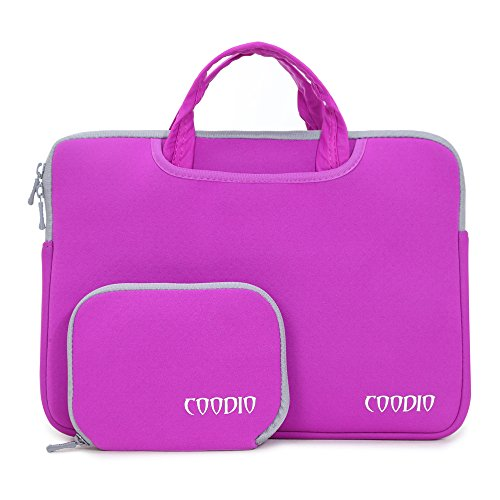 07. Coodio® Universal 15.6 inch Laptop Sleeve Bag Case Pouch Carrying Handbag Briefcase + Accessory Bag for Apple Macbook Pro Retina 15 (Fit all 15.6 inch ultrabook laptop) (Violet)