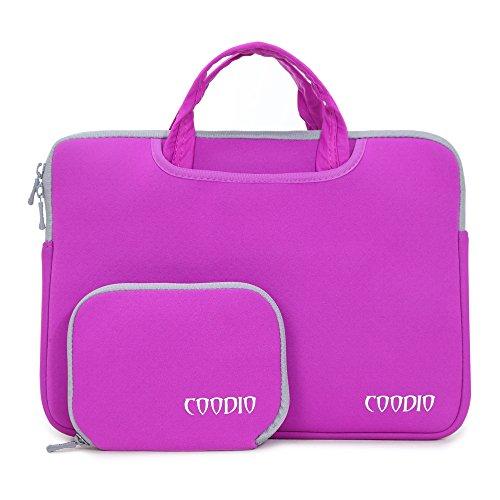 "Coodio® Universale 13.3"" Laptop Custodia Borse Handbag + Accessorio Bag Per PC portatili Apple Macbook Air 13, Macbook Pro Retina 13 (Fit all 13.3 inch ultrabook laptop) - Colore Viola"
