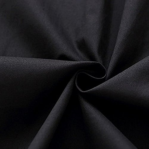 OWIN Women's Retro Deep-V Neck Half Sleeve Vintage Casual Swing Dress Party Dress (XL, Black)