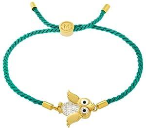 Missoma 18ct Gold Vermeil and Sterling Silver Owl Teal Rope Bracelet