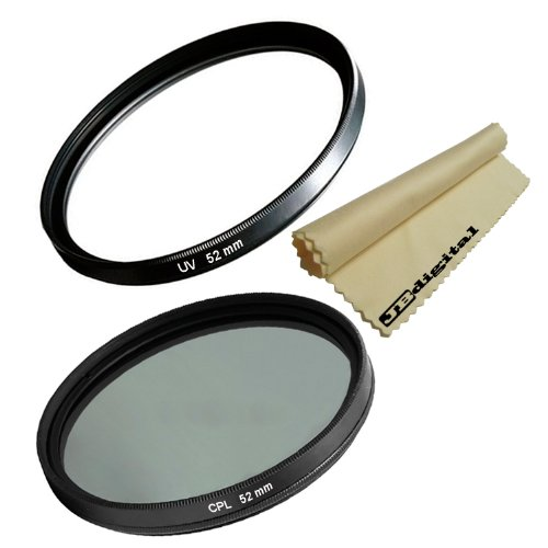 Deluxe 52Mm Uv Protection Filter & 52Mm Multi-Coated Cpl Circular Polarizer Filter For Nikon (D40 D40X D60 D90 D3000 D3100 D3200 D5000 D5100 D7000), Pentax (K-7 K-5 K-R K-X K-M K10D K20D K200D) + Jb Digital Soft Microfiber Cleaning Cloth